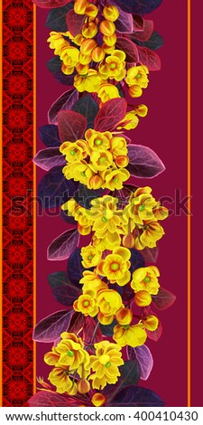 The branch of blossoming barberry. Spring flowering. Yellow flowers. Vertical floral border. Pattern, seamless. - stock photo
