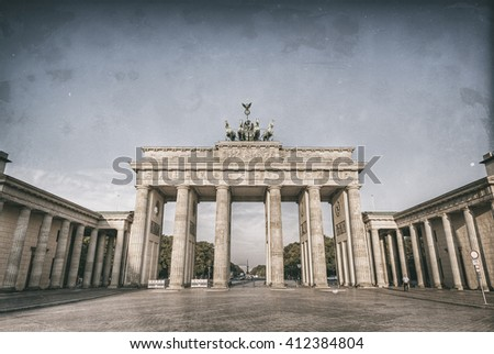 the brandenburg gate (Brandenburger Tor), the famous landmark of berlin, germany, europe, Old style image  - stock photo