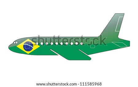 The Brazilian flag painted on the silhouette of a aircraft. glossy illustration - stock photo