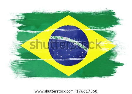 The Brazilian flag painted on white paper with watercolor - stock photo