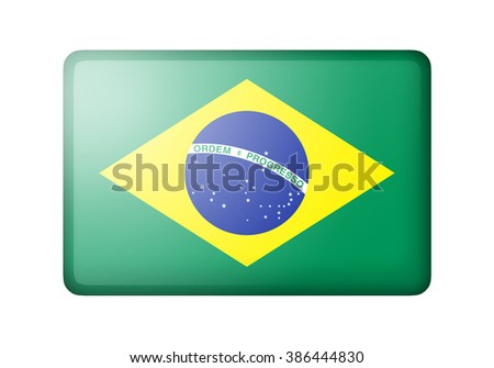 The Brazilian flag. Rectangular matte icon. Isolated on white background. - stock photo