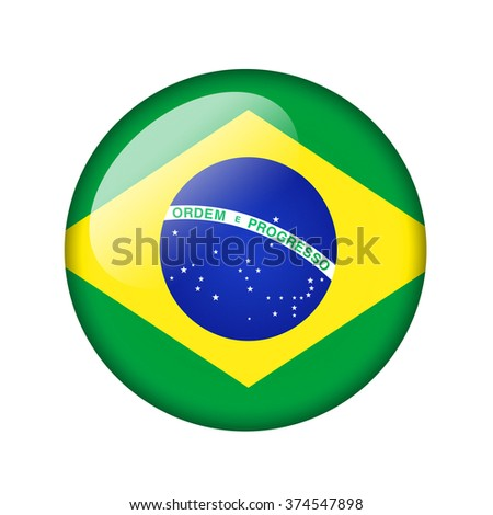 The Brazilian flag. Round glossy icon. Isolated on white background.