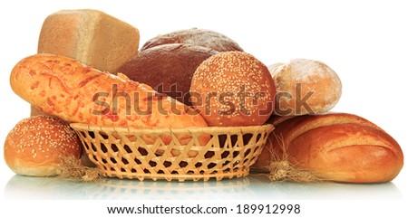 The bread abundance isolated on white background - stock photo