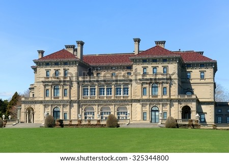 The Breakers is a one of the most fabulous mansion built in 1893 for Cornelius Vanderbilt and his family in Newport, Rhode Island, USA. This mansion is open to the public today. - stock photo