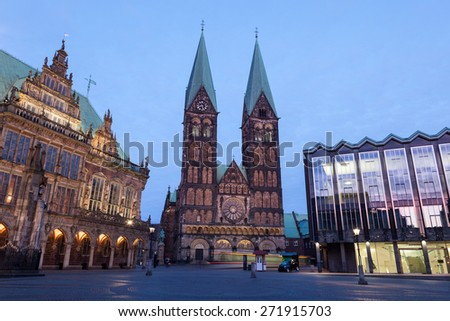 The Bremer Dom Cathedral at the main square of the city. Bremen, Germany