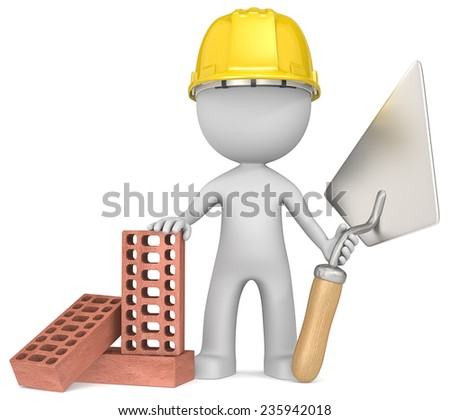 The Bricklayer. Dude the Bricklayer with trowel and bricks. - stock photo