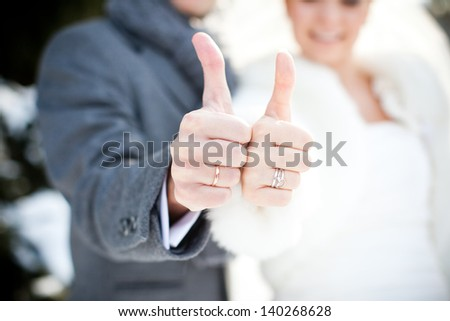 The bride and groom are happy
