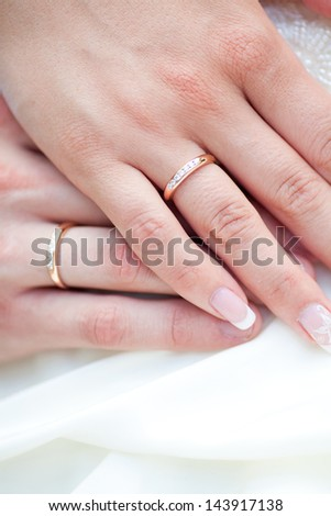 The bride and groom's hands together - stock photo