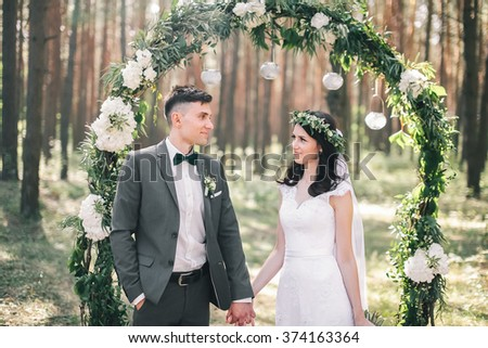 the bride and groom wedding - stock photo