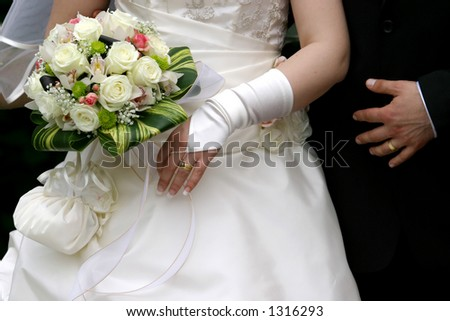 the bride and the groom with their weddingrings on