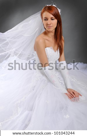 The bride in a dress with a magnificent skirt - stock photo