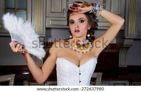 The bride in Rocco's style of baroque - stock photo