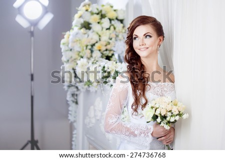 The bride in the photo Studio, wedding photography - stock photo