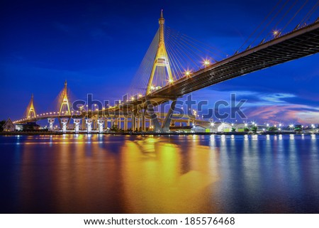 The Bridge across the river at dusk, The Industrail Ring Road (Bangkok, Thailand) - stock photo