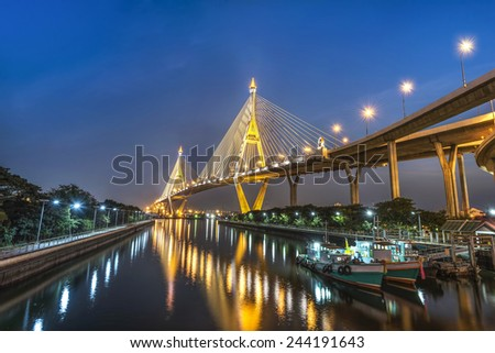 The Bridge across the river at twilight in Samutprakarn province Thailand