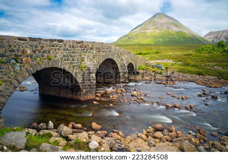 The bridge at Sligachan on the Isle of Skye in Scotland - stock photo