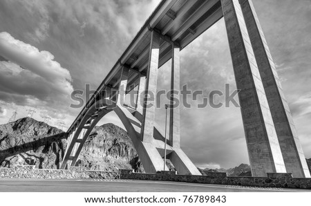 The Bridge by the Hoover Dam in Black and White - stock photo