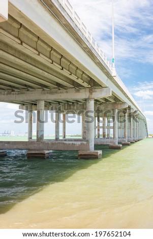 The bridge connecting the city of Miami to Key Biscayne - stock photo