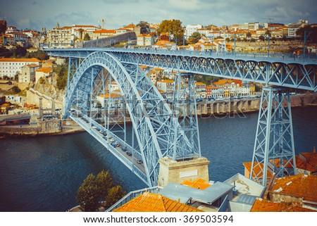 The bridge Luis I over the Douro river in Porto. - stock photo