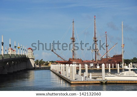 The Bridge of Lions and the marina in St Augustine Florida. The  iconic drawbridge bridges the intracoastal waterway and links Anastasia Island and beaches in St Augustine Florida