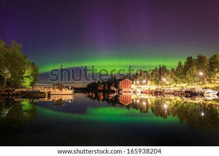 The bridge of northern light.  - stock photo