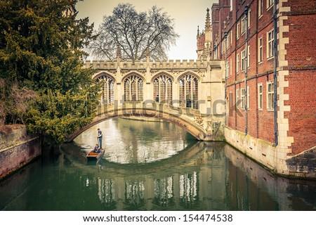 The Bridge of Sigh at Saint John's College, Cambridge - stock photo