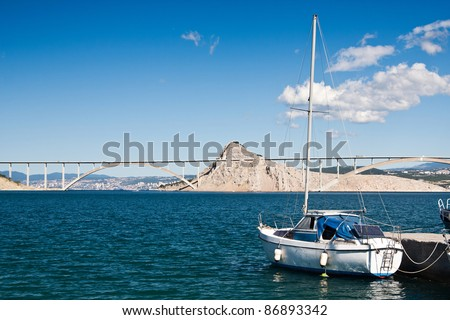 the bridge on island Krk - Croatia - stock photo