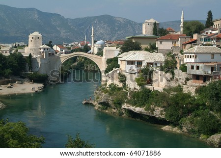 The bridge over Neretva river on Mostar - stock photo