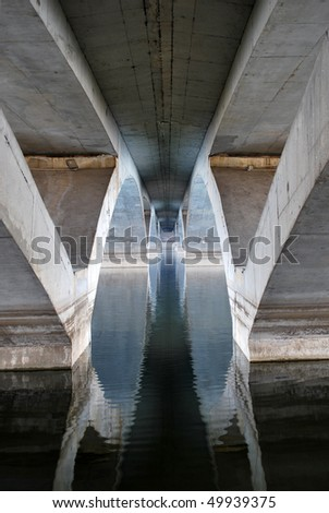 The bridge reflected in the water. Symmetry vision. - stock photo