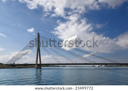 The bridge through the river Daugava in Riga