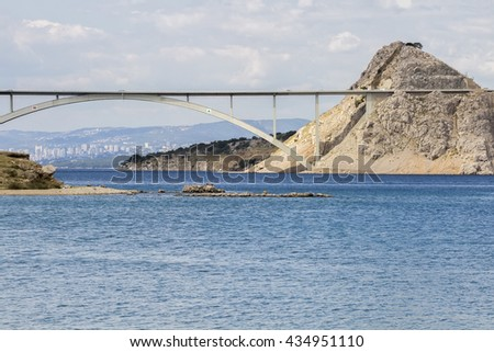 The bridge to the island of Krk seen from the bay