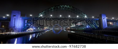 The Bridges over the River Tyne in Newcastle and Gateshead, England. - stock photo