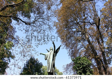 The Bridling Angel and Trees on the old Prague Cemetery - stock photo