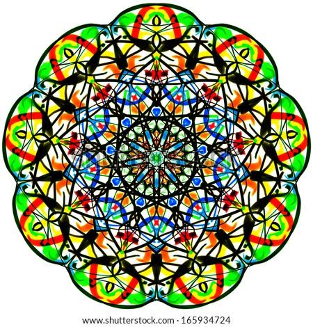 The bright round pattern. Mandala. - stock photo