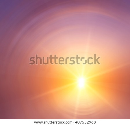 The bright star in the background blur of pink sunset sky. Abstract composition