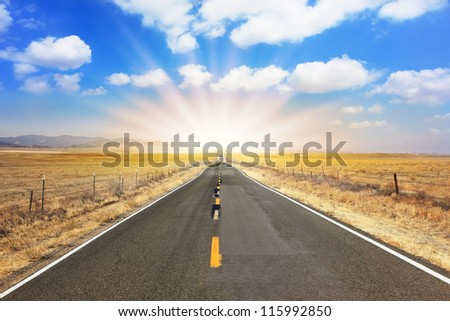 The bright sun illuminates the ideal road. The magnificent equal highway through boundless to the desert