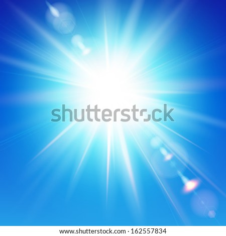 The bright sun shines on a blue sky background. Illustration with lens flare effect.