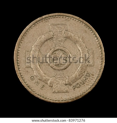 The British coin on the black background