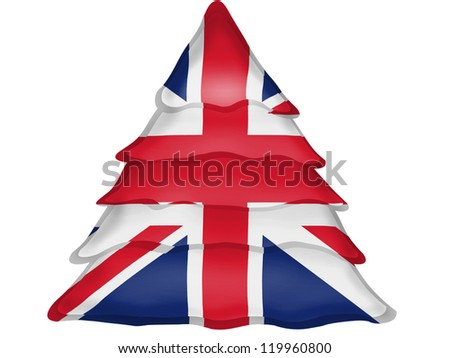 The British flag painted on Christmas xmas tree icon - stock photo