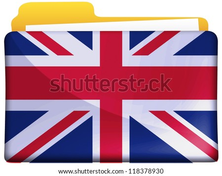 The British flag painted on file folder icon - stock photo