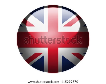 The British flag painted on glossy round sphere or icon - stock photo
