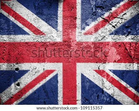 The British flag painted on grunge wall