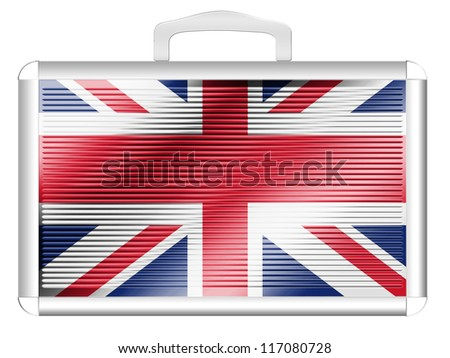 The British flag painted on metal aluminum case - stock photo