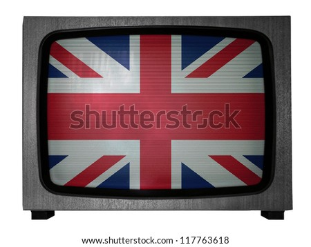 The British flag painted on old TV - stock photo