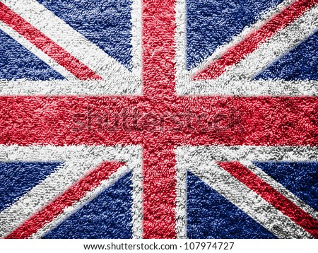 The British flag painted on towel surface