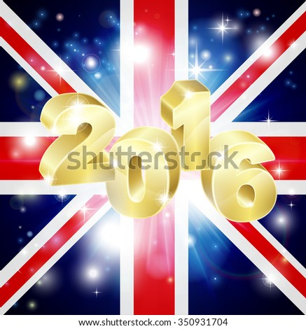 The British Union Jack flag of the UK with 2016 coming out of it with fireworks. Concept for New Year or anything exciting happening in the United Kingdom in the year 2016. - stock photo