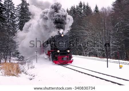 the Brocken railway in winter  - stock photo