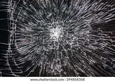 The broken black glass texture - stock photo