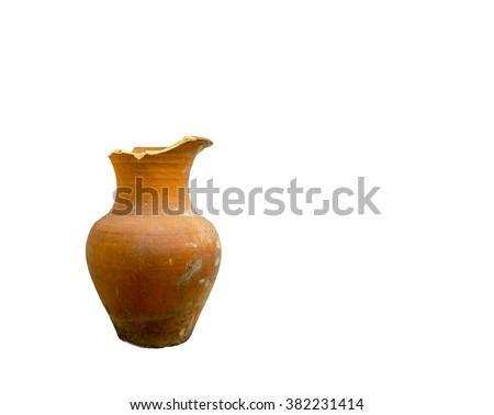The broken flowerpot on white background - stock photo