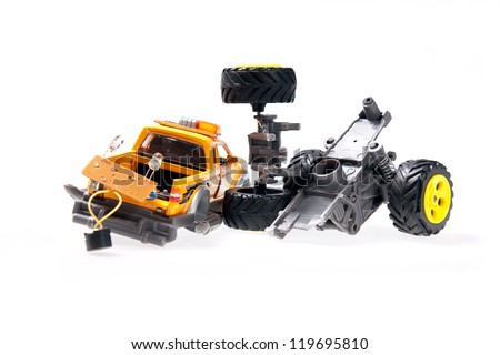 The broken toy car - stock photo